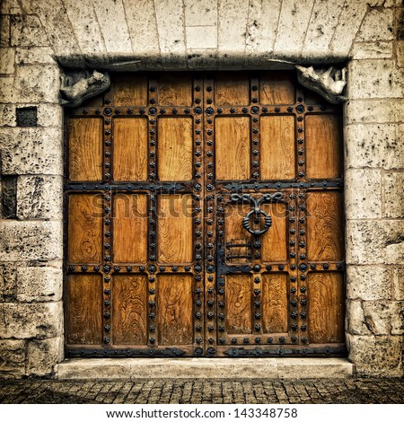Old door in Burgos (Castilla y Leon), Spain - stock photo