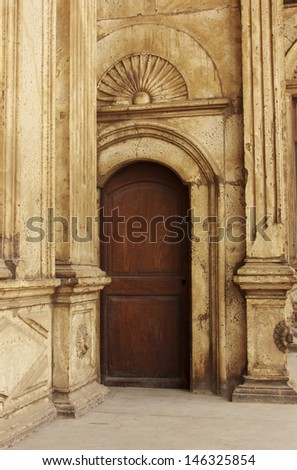 Old door in castel