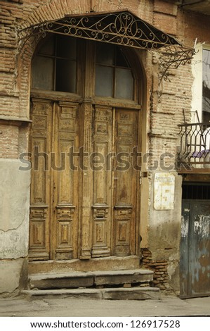 Old door in the most ancient part of Tbilisi