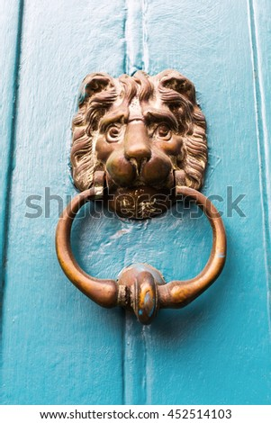 old door knocker in form of a lion head