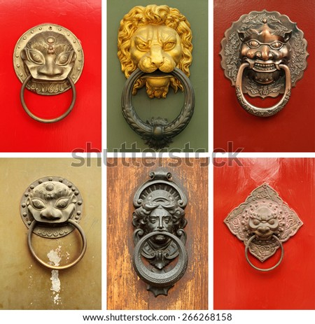 old door knockers collection - stock photo