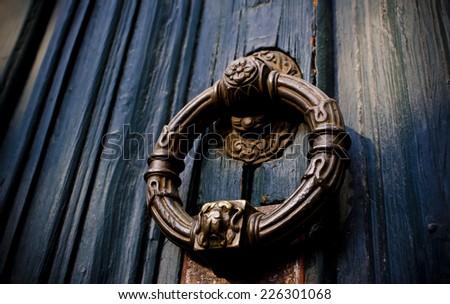 Old Door Lion Knob  - stock photo