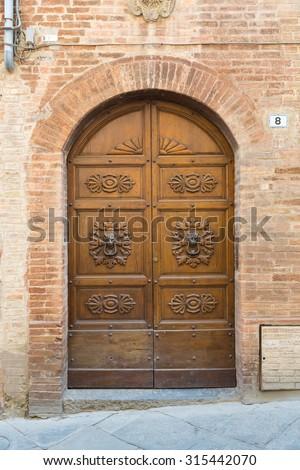 Old door - lock and clapper - stock photo