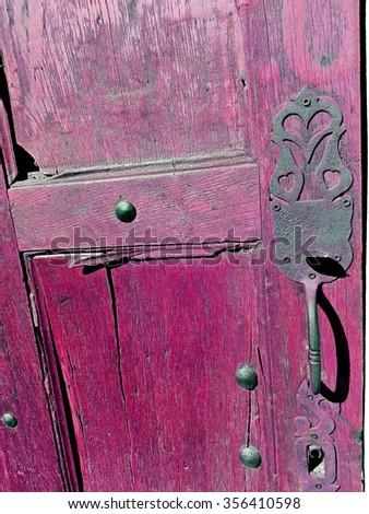 old door violet - stock photo