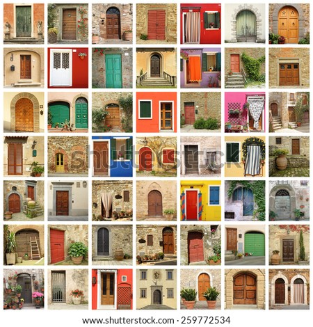 old door wallpaper made of images from Italy - stock photo