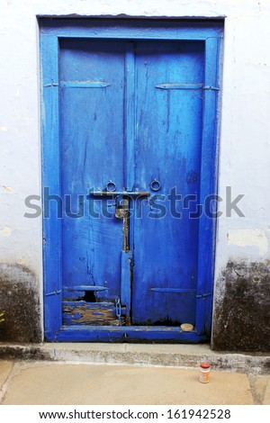 Old Door with Old Lock In India - stock photo