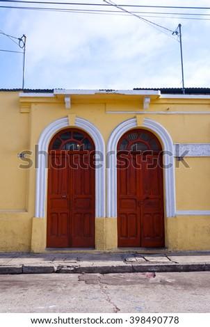 old door wooden color - stock photo