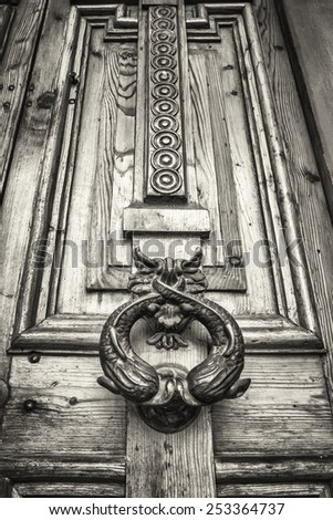 old doorknocker at a door