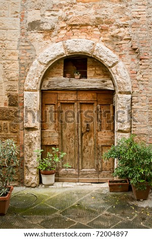 old doors of tuscany italy - stock photo