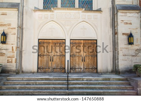 Old Doors on a Stone Church