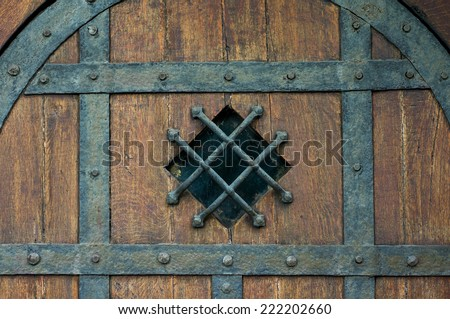 Old doors texture; Wood texture; Medieval doors - stock photo