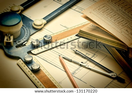 old drawing apparatus and instruments - stock photo