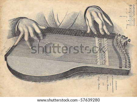 old drawing of the lute, illustration with a hands - stock photo