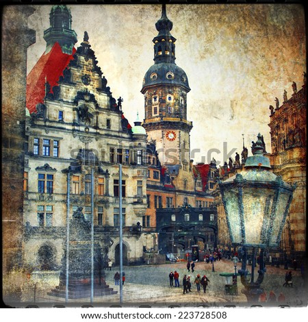 old Dresden - vintage cards series - stock photo