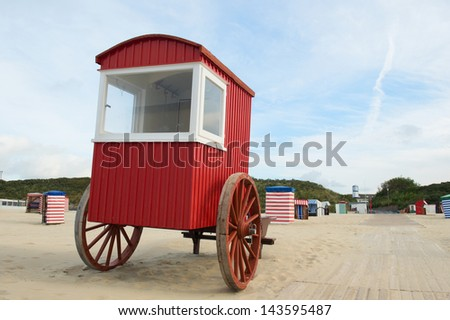 Old dressing car on the beach of German island Borkum