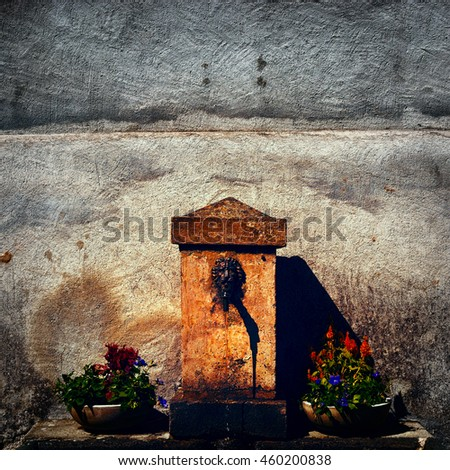 Old Drinking Fountain in Italy, Vintage Style Toned Picture