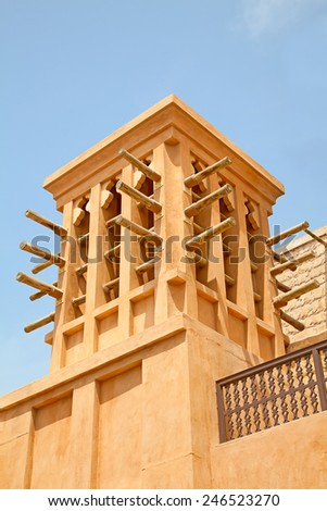Old Dubai with classical wind tower - stock photo