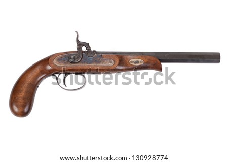 Old duel pistol isolated on white background
