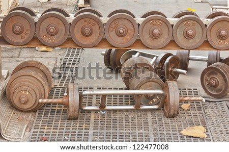 Old dumbbell - stock photo