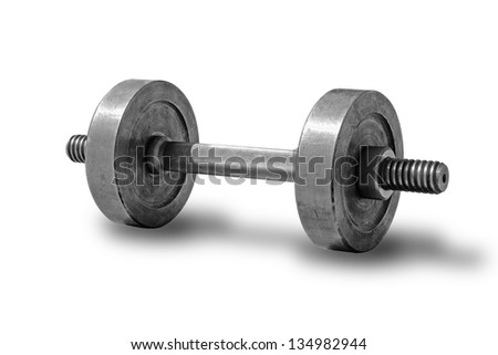 Old dumbbell close up on a white background. - stock photo