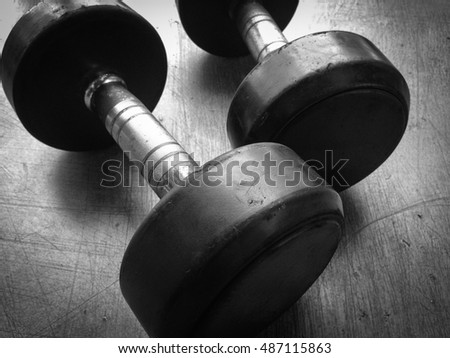 Old dumbells in a gym, blackandwhite images