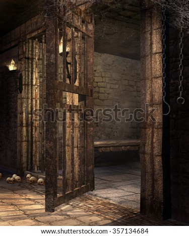 Old dungeon with chains, skulls and torches - stock photo