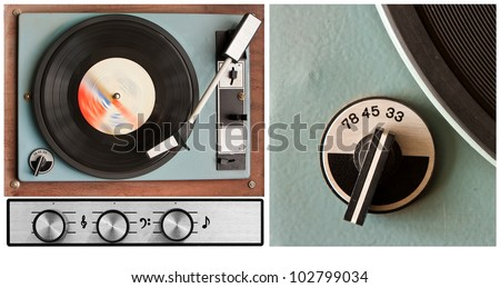 Old dusty vinyl player and controls - stock photo