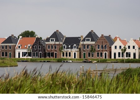 old dutch houses - stock photo