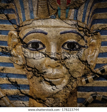 Old Egyptian golden pharaohs mask - travel to Egypt concept , Egyptian Casket  - stock photo