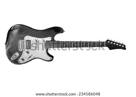 Old electric guitar isolated . - stock photo