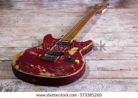 Old Electric Guitar Red