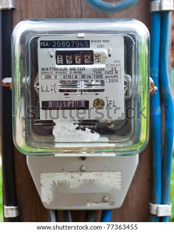 Old electric meter front view - stock photo