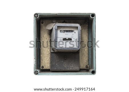old electric meter isolated on white background - stock photo