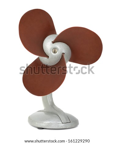 Old electrical fan isolated on white - stock photo