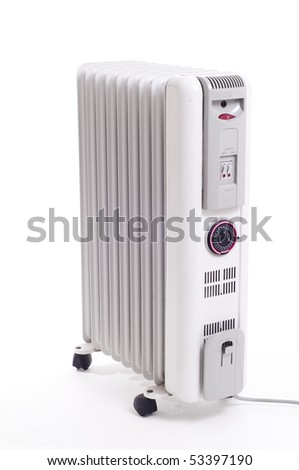Old Electrical Oil heater on white background with timer