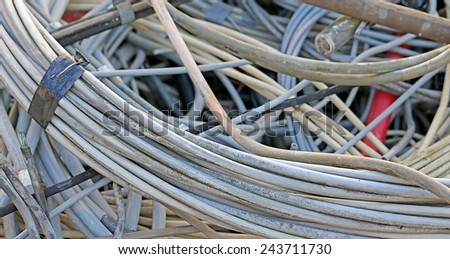 old  electrical wire in a landfill of hazardous material ready for recycling