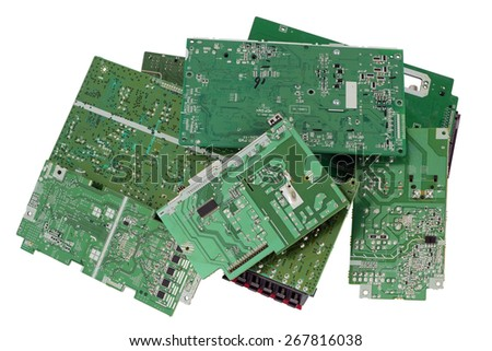 Old electronic mass production  printed-circuit boards are prepared for utilization.  Only position designations of elements. Isolated with patch - stock photo