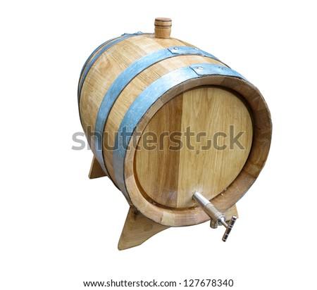 Old elegant wooden barrel isolated over white background - stock photo