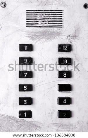 old elevator panel - stock photo