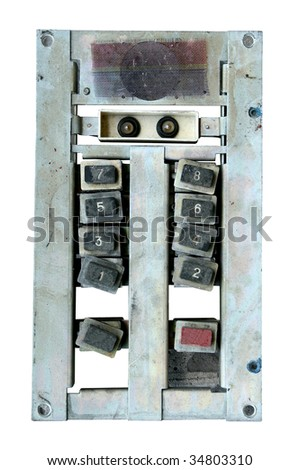 old elevator panel isolated on white background