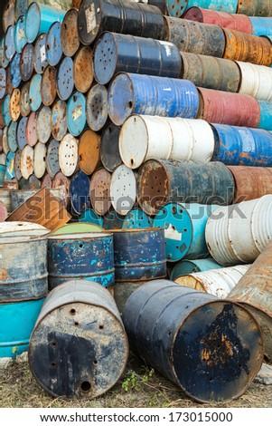 old empty barrels containing hazardous chemicals - stock photo