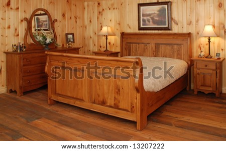 Old Empty Bedroom set  in natural pine wood