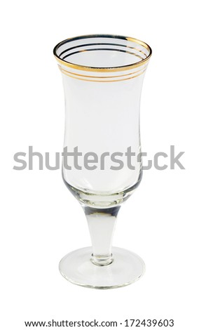old empty glass, on a white background