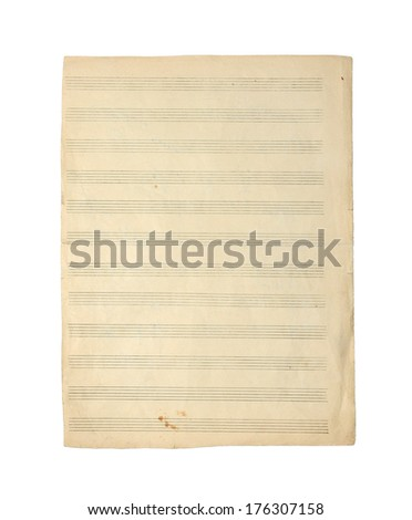 Old empty music notes paper isolated on a white background. - stock photo