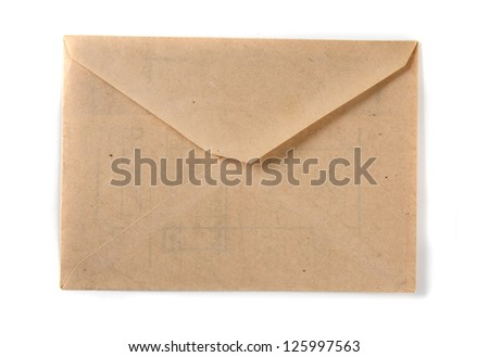 old empty paper (wraper)  isolated on the white background