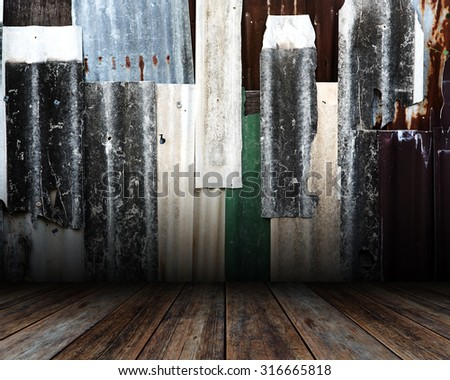 Old Empty room. Grunge wall and wood floor. - stock photo