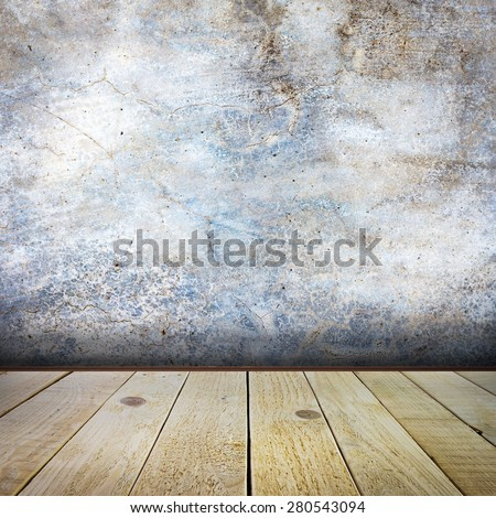 Old empty room with concrete wall background