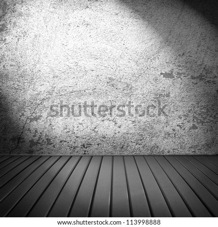 old empty room with wooden floor and white grunge wall and stage light to interior design, empty illuminated theater stage or art gallery - stock photo