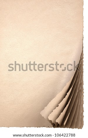 old empty sheets of paper with rolled edges. - stock photo
