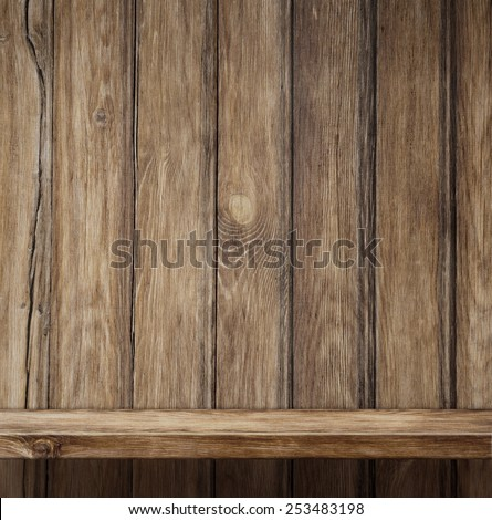 Old empty wood shelf vintage background